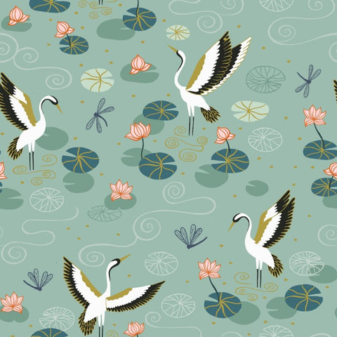 Lewis & Irene Jardin de Lis - Heron Lake Duck Egg (metallic) - 100% Cotton Fabric