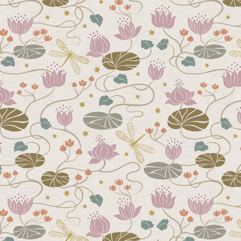 Lewis & Irene Jardin de Lis - Lillies Cream (metallic) - 100% Cotton Fabric