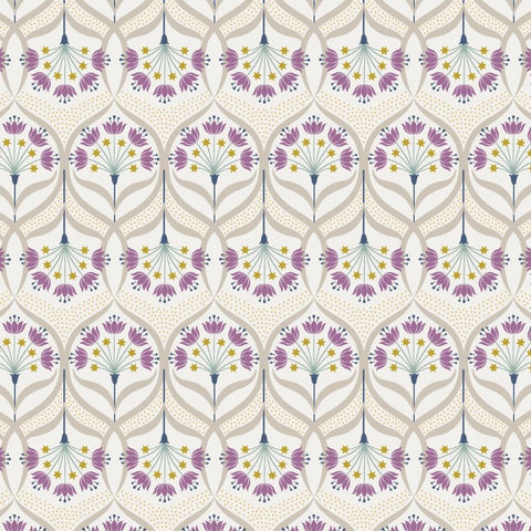 Lewis & Irene Jardin de Lis - Star Floral Cream (metallic) - 100% Cotton Fabric