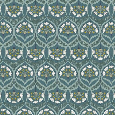 Lewis & Irene Jardin de Lis - Star Floral Jade (metallic) - 100% Cotton Fabric