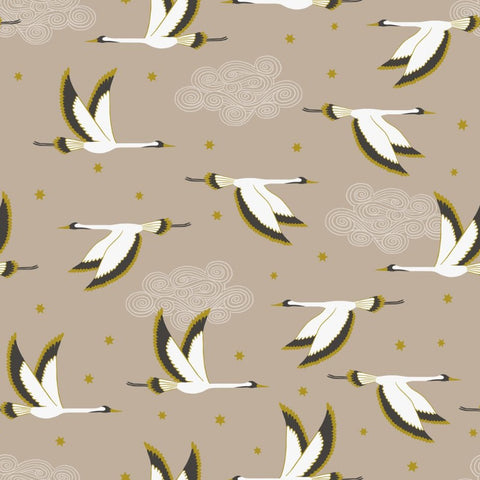 Lewis & Irene Jardin de Lis - Flying Heron Beige (metallic) - 100% Cotton Fabric