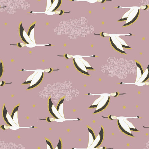Lewis & Irene Jardin de Lis - Flying Heron Rose Pink (metallic) - 100% Cotton Fabric