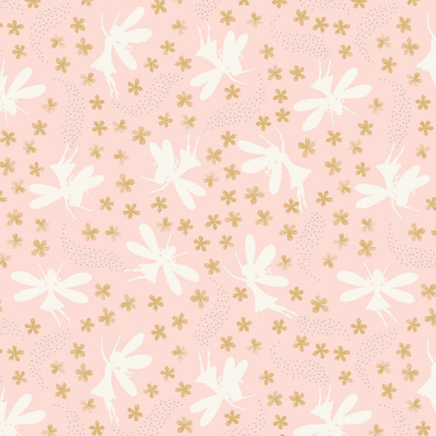 Lewis & Irene Fairy Clocks - Floral Fairies Light Pink (metallic) - 100% Cotton Fabric