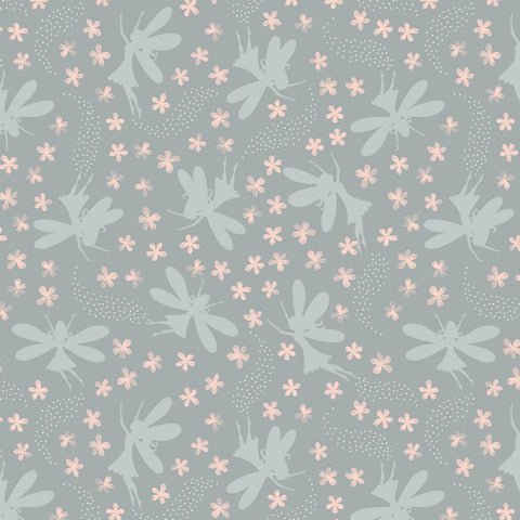 Lewis & Irene Fairy Clocks - Floral Fairies Light Grey (metallic) - 100% Cotton Fabric