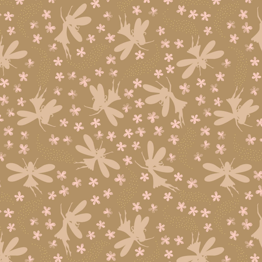 Lewis & Irene Fairy Clocks - Floral Fairies Deep Gold (metallic) - 100% Cotton Fabric