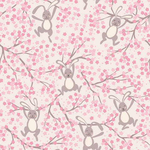 Lewis & Irene Bunny Hop - Swinging Bunnies Cream - 100% Cotton Fabric