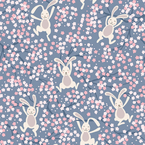 Lewis & Irene Bunny Hop - Swinging Bunnies Denim Blue - 100% Cotton Fabric