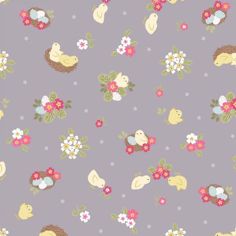 Lewis & Irene Bunny Hop - Chicks Natural - 100% Cotton Fabric