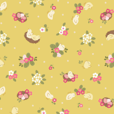 Lewis & Irene Bunny Hop - Chicks Yellow - 100% Cotton Fabric