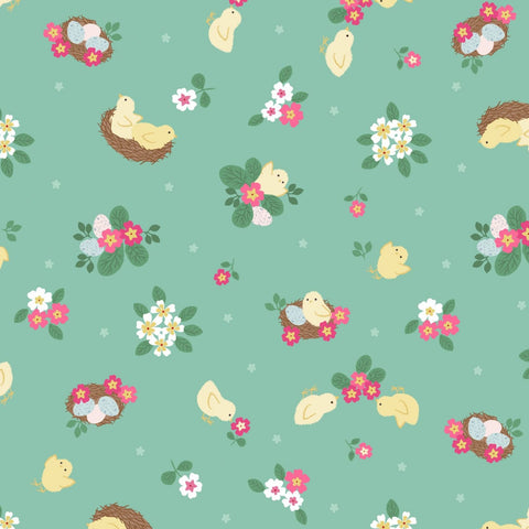 Lewis & Irene Bunny Hop - Chicks Spring Green - 100% Cotton Fabric