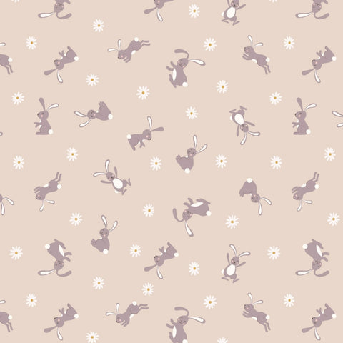 Lewis & Irene Bunny Hop - Bunny Dark Cream - 100% Cotton Fabric