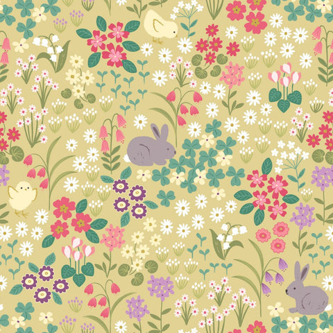 Lewis & Irene Bunny Hop - Bunny & Chick Floral Spring Yellow - 100% Cotton Fabric