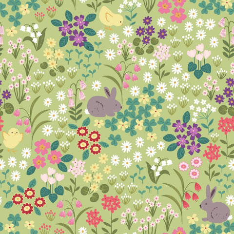 Lewis & Irene Bunny Hop - Bunny & Chick Floral Spring Green  - 100% Cotton Fabric