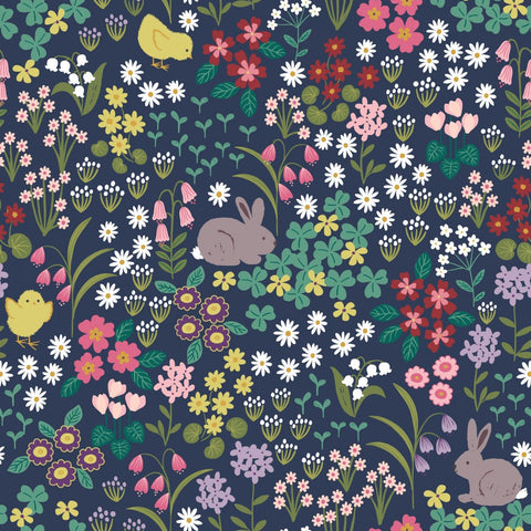 Lewis & Irene Bunny Hop - Bunny & Chick Floral Dark Blue - 100% Cotton Fabric