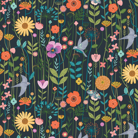 Dashwood Aviary - Wildflower Navy - 100% Cotton Fabric