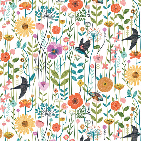 Dashwood Aviary - Wildflower Ivory - 100% Cotton Fabric