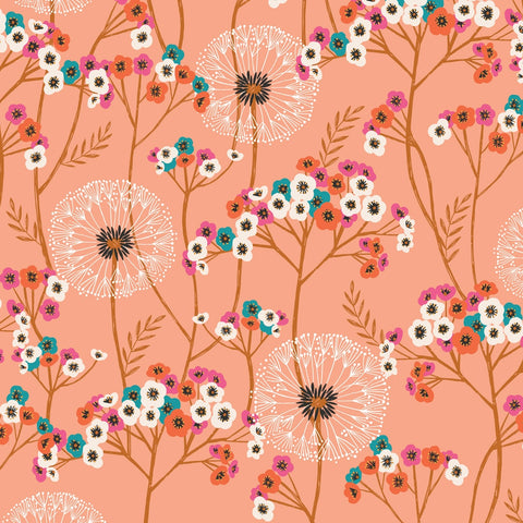 Dashwood Aviary - Dandelions Pink - 100% Cotton Fabric