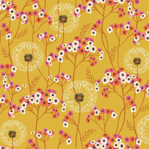 Dashwood Aviary - Dandelions Mustard - 100% Cotton Fabric