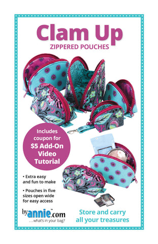 By Annie Bag Sewing Pattern - Clam Up Zippered Pouches
