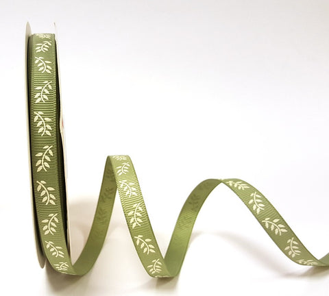 9mm Fern Sage Printed Ribbon