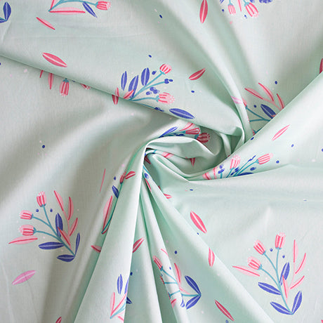 Busy Blossom Mint - Lisa Comfort Cotton Lawn Fabric