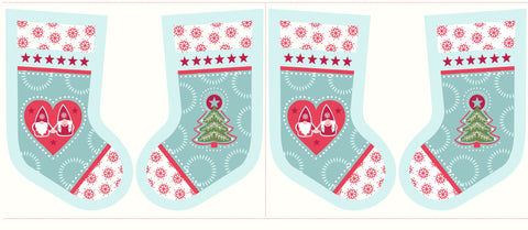 Lewis & Irene Hygge Christmas Stocking Fabric Panel