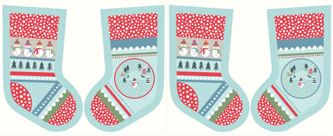 Lewis & Irene Snowy Day Christmas Stocking Fabric Panel