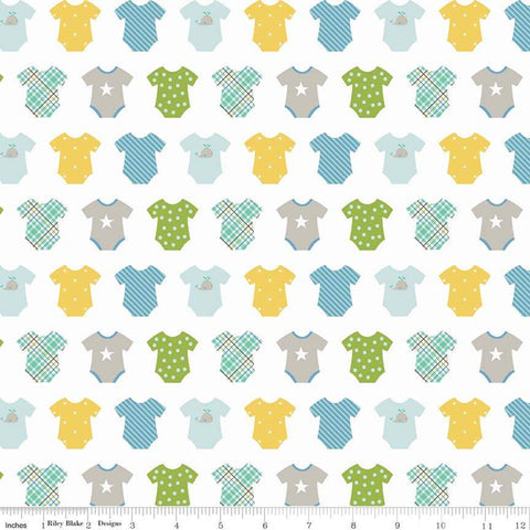 Riley Blake Sweet Baby Boy - Onesies White - 100% Cotton Fabric