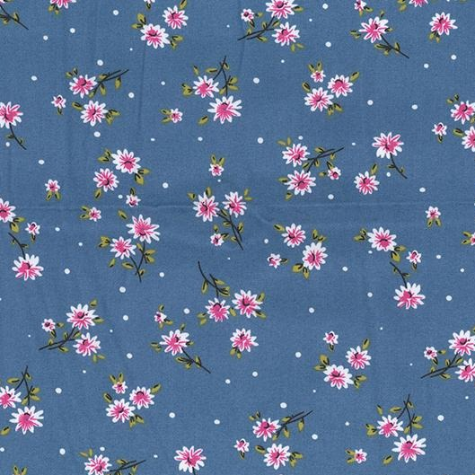 Pink Daisy Light Chambray Denim Fabric