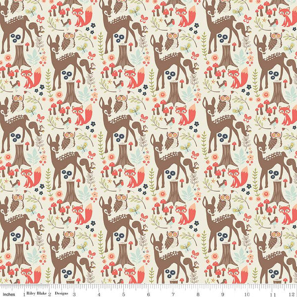 Riley Blake Woodland Spring - Main Cream - 100% Cotton Fabric