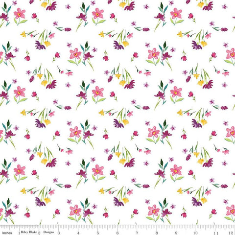 Riley Blake Hampton Garden - Stems White - 100% Cotton Fabric