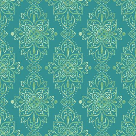 Riley Blake Hampton Garden - Damask Teal - 100% Cotton Fabric