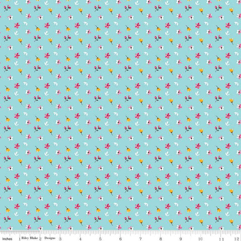 Riley Blake Fleur - Petite Flowers Aqua - 100% Cotton Fabric