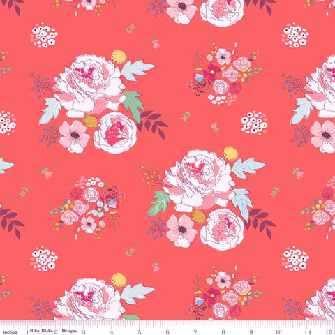 Riley Blake Idyllic - Main Coral - 100% Cotton Fabric