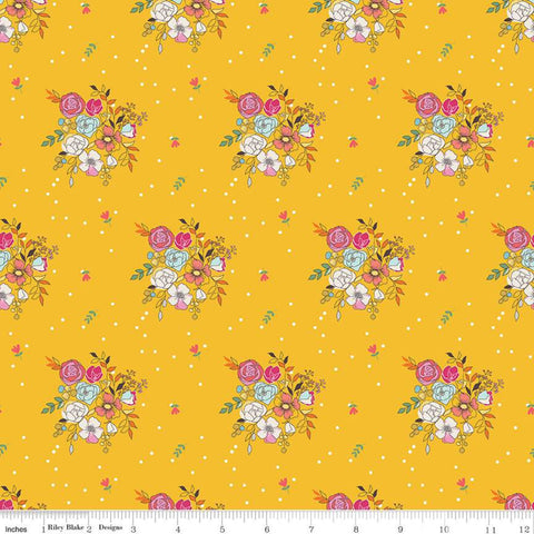 Riley Blake Idyllic - Bouquets Mustard - 100% Cotton Fabric