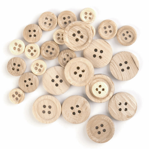 Trimits Assorted Wooden Buttons 30 Pack