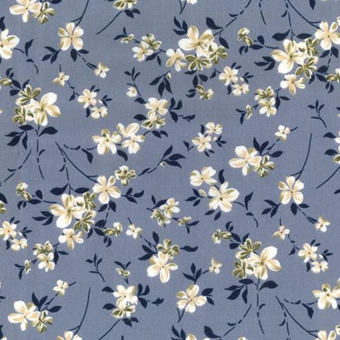 Blossoms Grey Cotton Poplin Fabric
