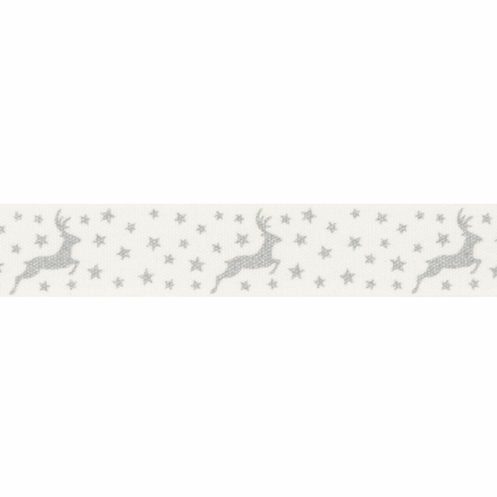 15mm Silver Reindeer Christmas Ribbon