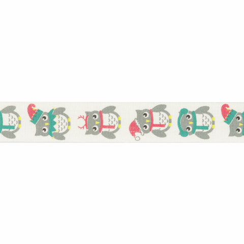 15mm Festive Owls Christmas Ribbon