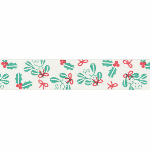 15mm Holly and Mistletoe Ribbon