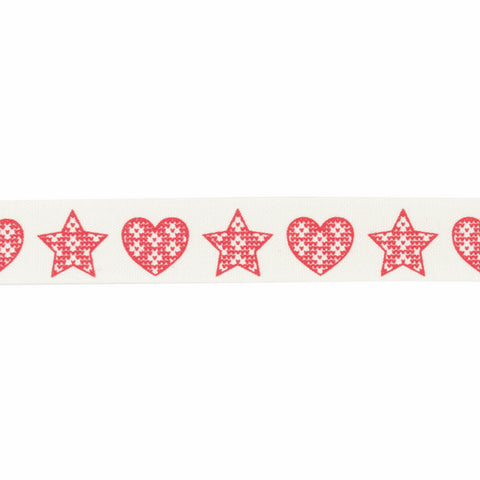 15mm Knitted Hearts and Stars Ribbon