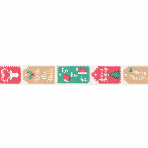 25mm Christmas Tags Ribbon