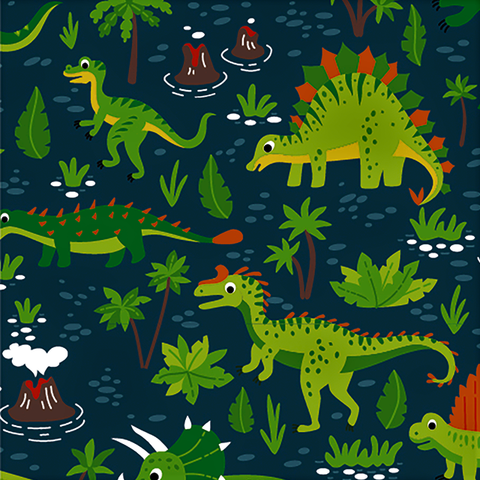 Navy Dino Adventure Cotton Jersey Fabric