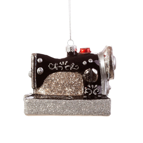 Sewing Machine Glass Christmas Tree Decoration