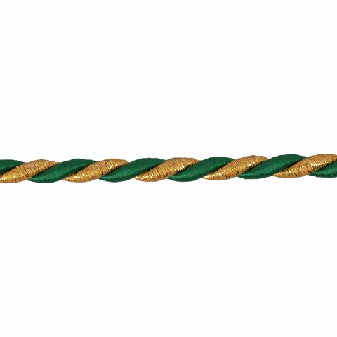 6mm Woven Cord - Gold/Green
