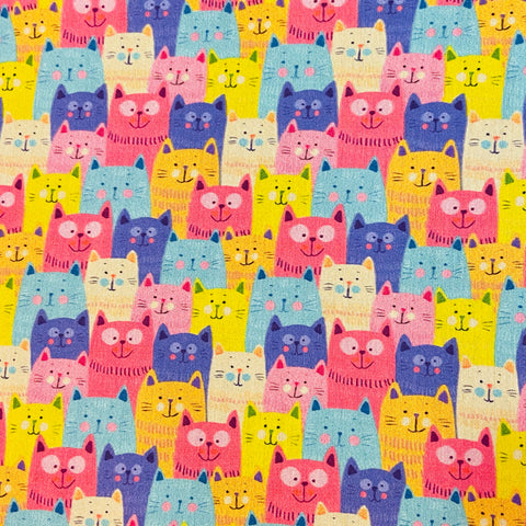 Colourful Cats 100% Cotton Fabric