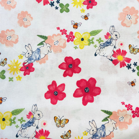 The Craft Cotton Co Peter Rabbit - Larger Florals - 100% Cotton Fabric