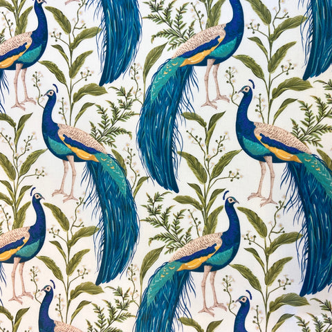 Tropical Peacock Cotton Canvas Fabric
