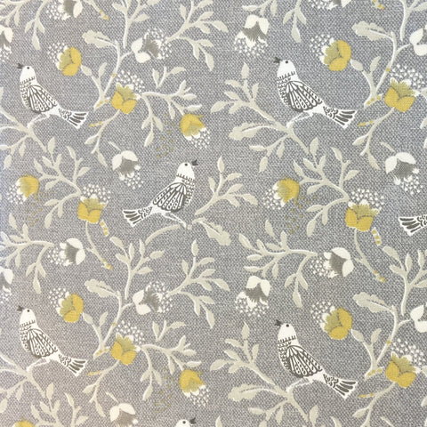 Birdsong Grey Cotton Canvas Fabric