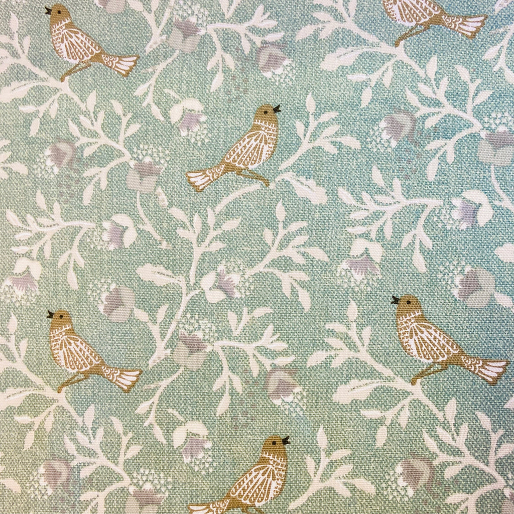 Birdsong Duck Egg Cotton Canvas Fabric
